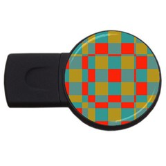 Squares In Retro Colors Usb Flash Drive Round (2 Gb) by LalyLauraFLM