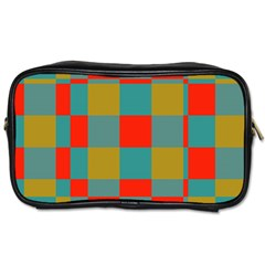 Squares In Retro Colors Toiletries Bag (one Side) by LalyLauraFLM