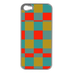 Squares In Retro Colors Apple Iphone 5 Case (silver) by LalyLauraFLM