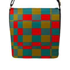 Squares In Retro Colors Flap Closure Messenger Bag (large) by LalyLauraFLM