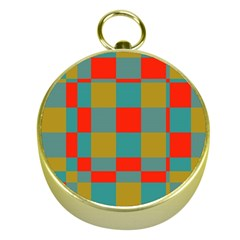 Squares In Retro Colors Gold Compass by LalyLauraFLM