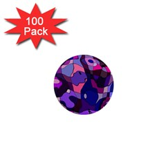 Blue Purple Chaos 1  Mini Button (100 Pack)  by LalyLauraFLM