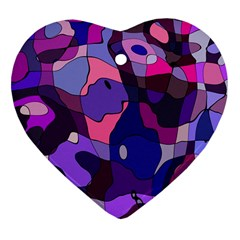 Blue Purple Chaos Heart Ornament (two Sides) by LalyLauraFLM