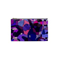 Blue Purple Chaos Cosmetic Bag (small) by LalyLauraFLM