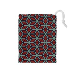 Cubes Pattern Abstract Design Drawstring Pouch (medium) by LalyLauraFLM