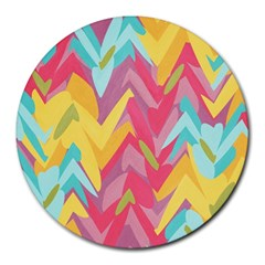 Paint Strokes Abstract Design Round Mousepad by LalyLauraFLM