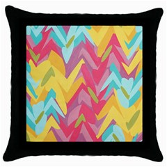 Paint Strokes Abstract Design Throw Pillow Case (black) by LalyLauraFLM