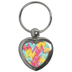Paint Strokes Abstract Design Key Chain (heart) by LalyLauraFLM