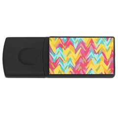 Paint Strokes Abstract Design Usb Flash Drive Rectangular (4 Gb) by LalyLauraFLM