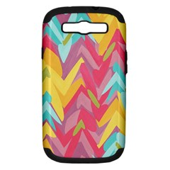 Paint Strokes Abstract Design Samsung Galaxy S Iii Hardshell Case (pc+silicone) by LalyLauraFLM