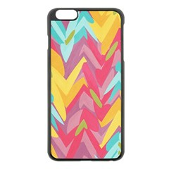 Paint Strokes Abstract Design Apple Iphone 6 Plus Black Enamel Case by LalyLauraFLM