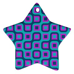 Blue Purple Squares Pattern Ornament (star) by LalyLauraFLM