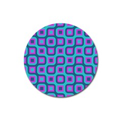 Blue Purple Squares Pattern Magnet 3  (round) by LalyLauraFLM