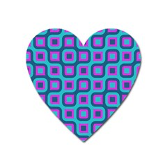 Blue Purple Squares Pattern Magnet (heart) by LalyLauraFLM