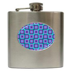 Blue Purple Squares Pattern Hip Flask (6 Oz) by LalyLauraFLM