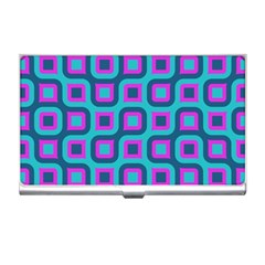 Blue Purple Squares Pattern Business Card Holder by LalyLauraFLM