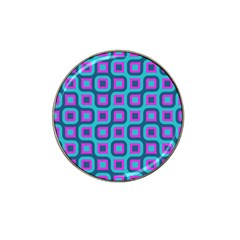 Blue Purple Squares Pattern Hat Clip Ball Marker (4 Pack) by LalyLauraFLM