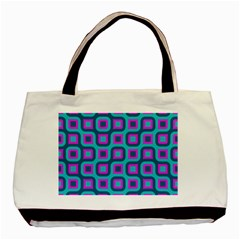 Blue Purple Squares Pattern Basic Tote Bag by LalyLauraFLM