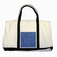 Blue Purple Squares Pattern Two Tone Tote Bag by LalyLauraFLM