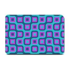 Blue Purple Squares Pattern Small Doormat by LalyLauraFLM