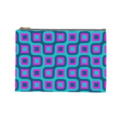 Blue Purple Squares Pattern Cosmetic Bag (large)