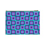 Blue purple squares pattern Cosmetic Bag (Large) Back