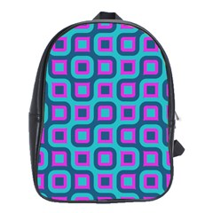 Blue Purple Squares Pattern School Bag (large) by LalyLauraFLM