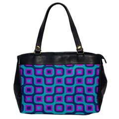 Blue Purple Squares Pattern Oversize Office Handbag (one Side) by LalyLauraFLM