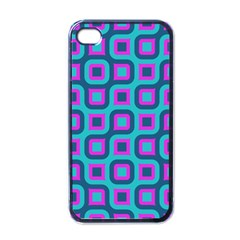 Blue Purple Squares Pattern Apple Iphone 4 Case (black) by LalyLauraFLM