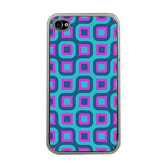 Blue Purple Squares Pattern Apple Iphone 4 Case (clear) by LalyLauraFLM