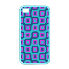 Blue Purple Squares Pattern Apple Iphone 4 Case (color) by LalyLauraFLM