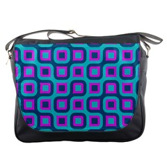Blue Purple Squares Pattern Messenger Bag by LalyLauraFLM