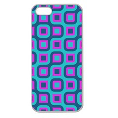 Blue Purple Squares Pattern Apple Seamless Iphone 5 Case (clear) by LalyLauraFLM