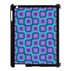 Blue Purple Squares Pattern Apple Ipad 3/4 Case (black) by LalyLauraFLM