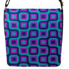 Blue Purple Squares Pattern Flap Closure Messenger Bag (small) by LalyLauraFLM