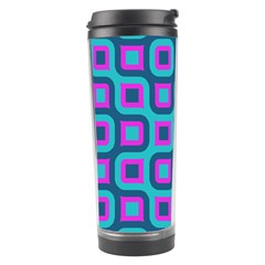 Blue Purple Squares Pattern Travel Tumbler by LalyLauraFLM