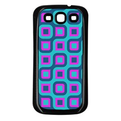 Blue Purple Squares Pattern Samsung Galaxy S3 Back Case (black) by LalyLauraFLM