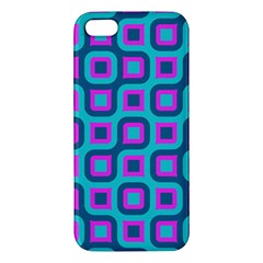 Blue Purple Squares Pattern Iphone 5s Premium Hardshell Case by LalyLauraFLM