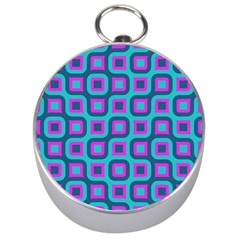 Blue Purple Squares Pattern Silver Compass by LalyLauraFLM