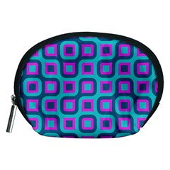 Blue Purple Squares Pattern Accessory Pouch (medium) by LalyLauraFLM