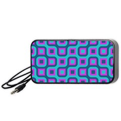 Blue Purple Squares Pattern Portable Speaker (black) by LalyLauraFLM
