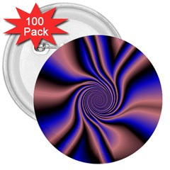 Purple Blue Swirl 3  Button (100 Pack) by LalyLauraFLM