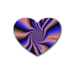 Purple Blue Swirl Rubber Coaster (heart) by LalyLauraFLM