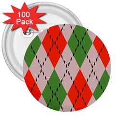 Argyle Pattern Abstract Design 3  Button (100 Pack) by LalyLauraFLM