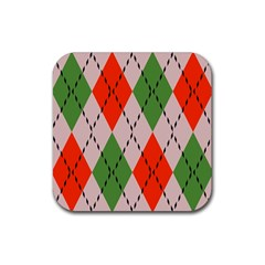 Argyle Pattern Abstract Design Rubber Square Coaster (4 Pack) by LalyLauraFLM