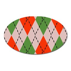 Argyle Pattern Abstract Design Magnet (oval) by LalyLauraFLM