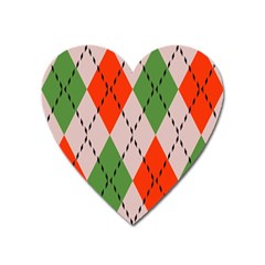 Argyle Pattern Abstract Design Magnet (heart) by LalyLauraFLM