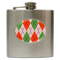 Argyle Pattern Abstract Design Hip Flask (6 Oz) by LalyLauraFLM