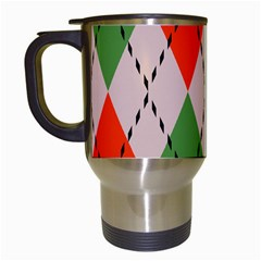Argyle Pattern Abstract Design Travel Mug (white) by LalyLauraFLM