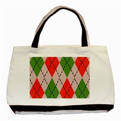 Argyle Pattern Abstract Design Basic Tote Bag by LalyLauraFLM